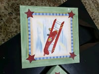 red biplane painting with square green wooden frame Brampton, L6R 0J7