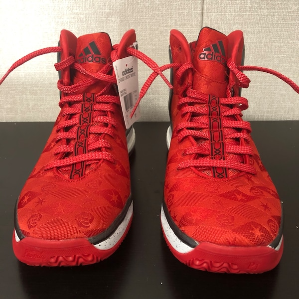 sports shoes 9c71a bf6d6 Used Adidas D Rose 5 Boost Woven Brenda Scarlet Black White ...