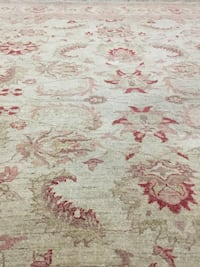 Hand made wool white and red floral print rug Toronto, M9R 3T9