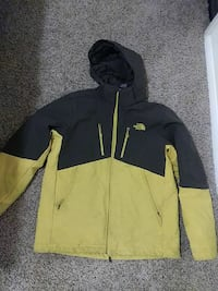 yellow and black The North Face zip-up hoodie