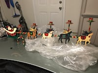 Metal christmas santa sleigh reindeer 5 candle holder double-sided table display Richmond, 94804