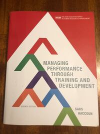 Managing Performance through Training & Development 7th Ed Oakville, L6L 0Y9