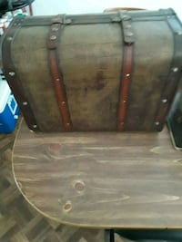 Vintage style brown wooden and leather suitcase