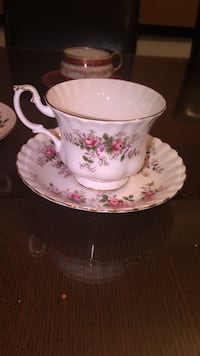 White and pink floral ceramic teacup with saucer Montréal, H4R 2R9