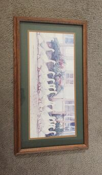 brown wooden framed painting of white and brown house Bakersfield