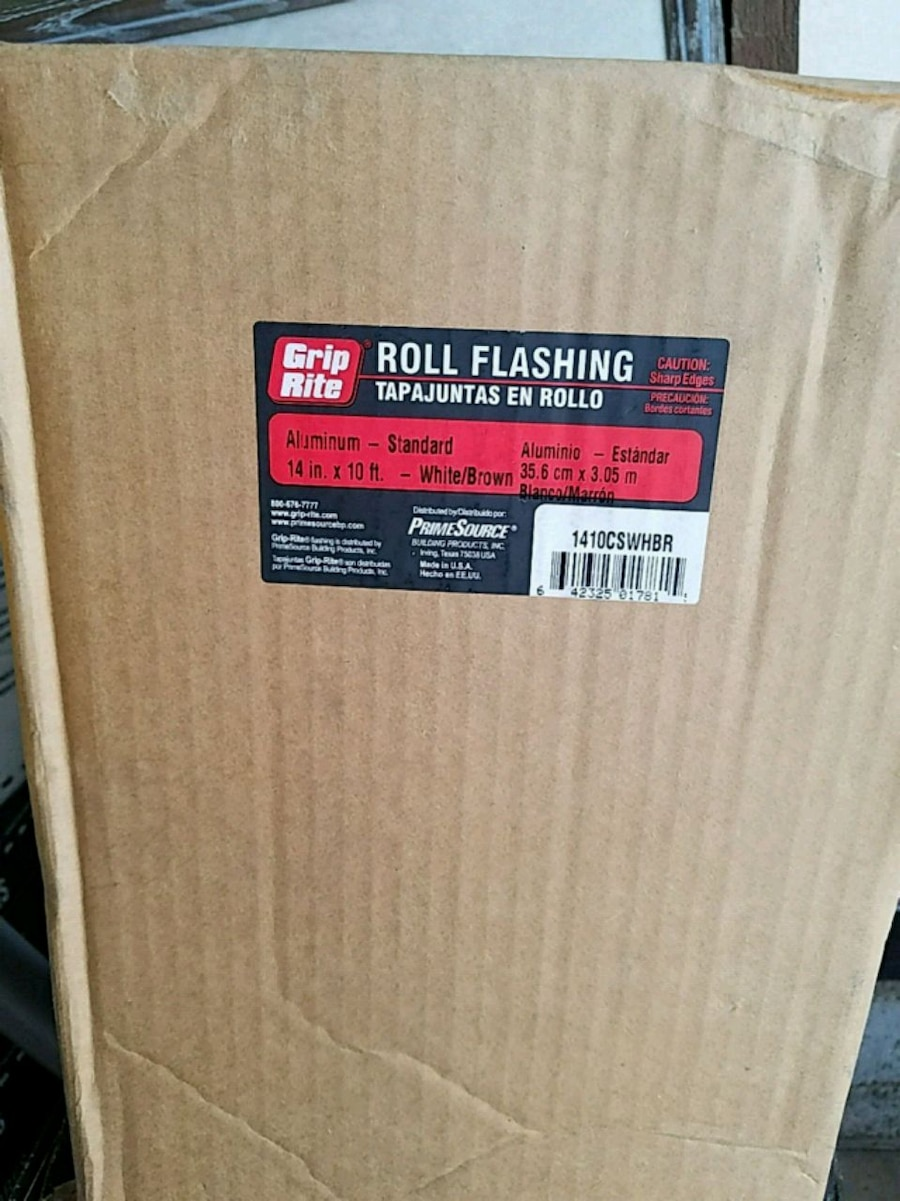 Photo Roll flashing 14in. ×10ft. White/brown