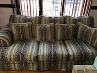 Burgundy and Beige floral fabric 3-seat sofa Jackson, 08527