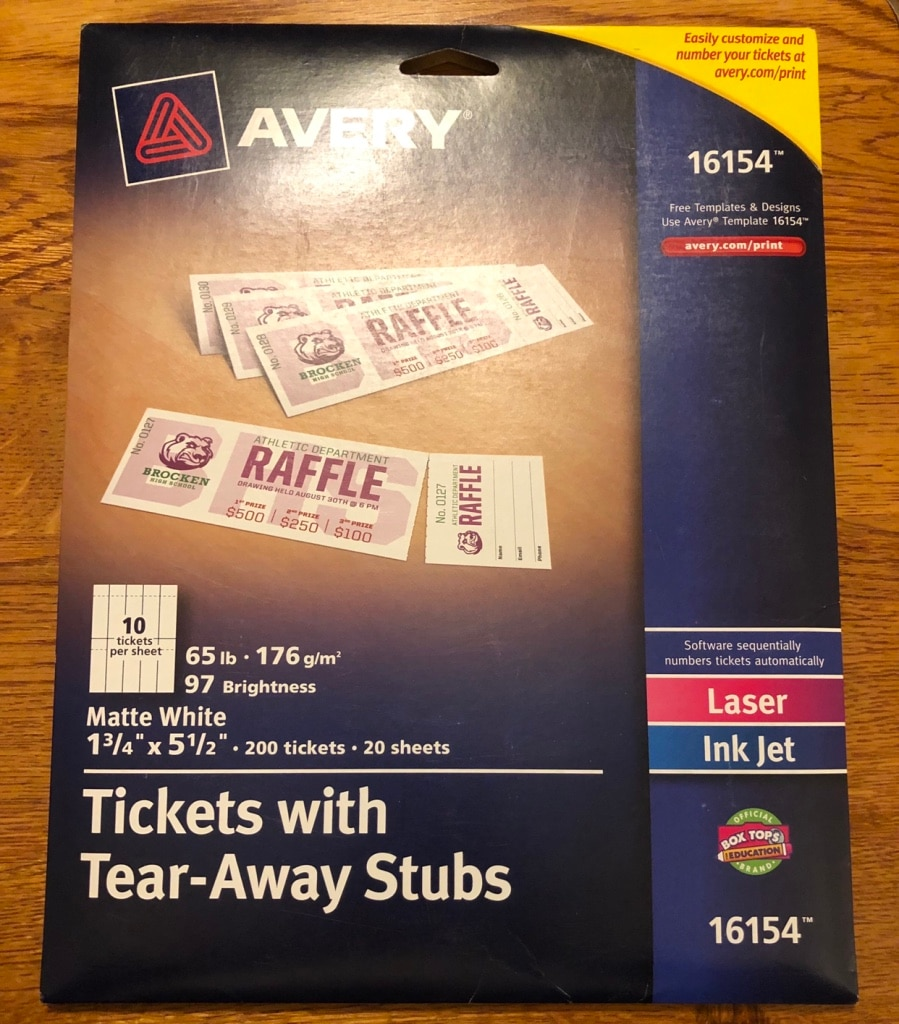 photograph regarding Printable Tickets With Tear Away Stubs named Avery Printable Tickets with Tear-Absent Stubs - Clean Pack Product or service 16154