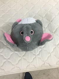white, gray, and pink elephant plush toy