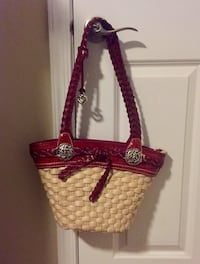 Brighton – Burgundy Woven Straw Shoulder Bag South Brunswick Township