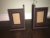 Brown leather picture frame bookends  Toronto, M9C 2T9