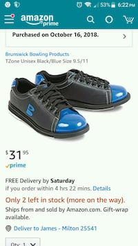 black-and-blue bowling shoes  Milton, 25541