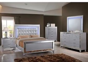 4 piece queen bed set with box and mattress