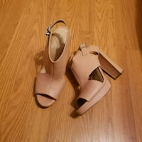 pair of nude leather open-toe ankle strap heels Denver, 28037