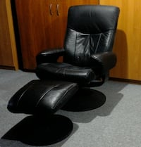Swivel/Recliner Black Leather Chair  TORONTO