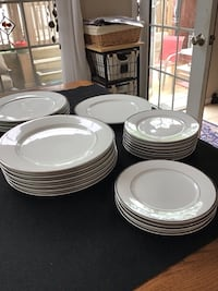 International silver co.fine china white with silver trim 11 salad 11 dinner plates Mount Holly, 08060