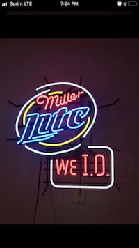 Miller light we ID neon light