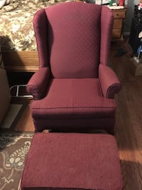 Lightly Used Burgundy Wing Back Chair Plus Ottoman    Snellville, 30039