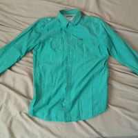 teal long-sleeved dress shirt