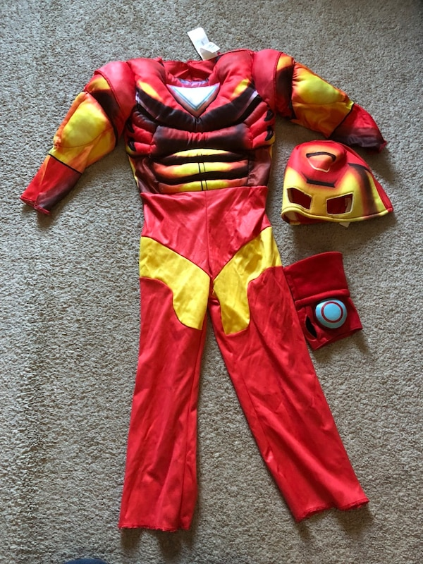 red and yellow Batman costume