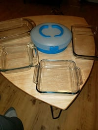 Glass cookware and pie/deviled egg tray