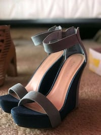 pair of black open toe ankle strap heels Suitland-Silver Hill, 20747