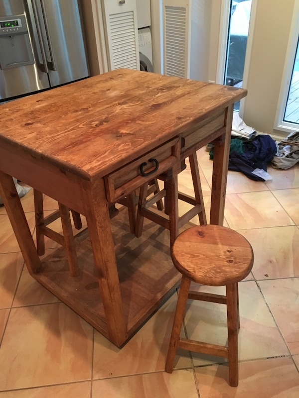 Used Kitchen island butcher block/ kitchen table for sale in ...
