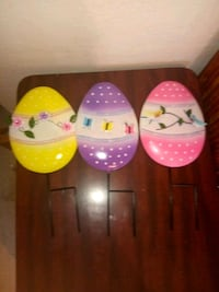 3 piece Easter egg yard stakes