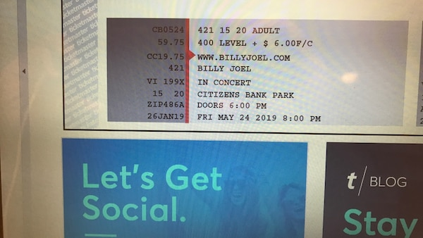 3 Billy Joel Tickets Citizens Bank Park