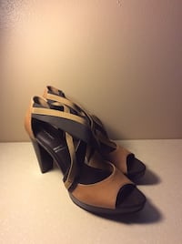 Rock port Tan & Chocolate Cross-Strapped Platform Size 8M St. Louis