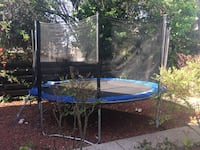 blue and black trampoline with enclosure Fremont, 94539