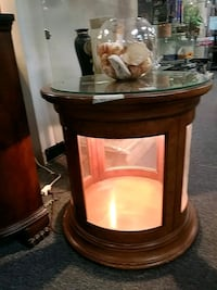 Lighted round end table- solid wood 1212 mi