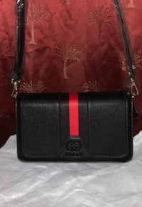 Gucci black Red and Green Leather Crossbody bag Lindenhurst, 11757
