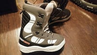 white-gray-and-black Crazy Creek snowboard boots