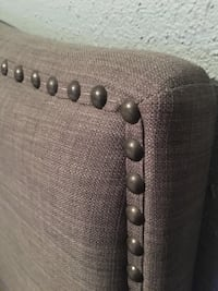 Queen studded headboard in warm grey. Barrie, L4M