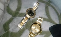 round gold chronograph watch with gold link bracelet Edmonton, T5H 2Y9