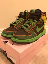 Pair of black-orange-yellow-and-green Nike SB with box us size 9.5