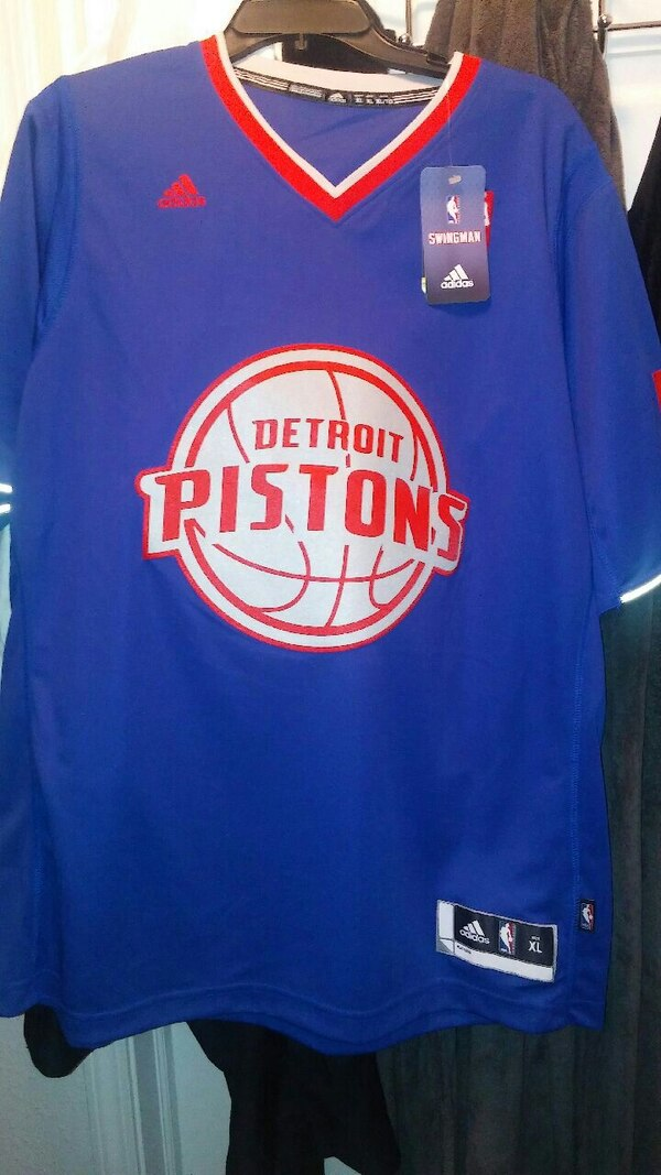 6b7c7aba5d5 Used blue, red, and white Adidas Detroit Piston jersey for sale in ...