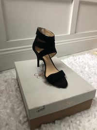 Pair of black  open toe ankle strap heels size 6 1/2 Seekonk