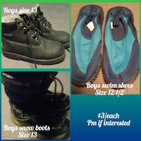 boy's three boots, swim shoes, and snow boots photo collage