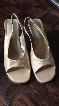pair of gray peep-toe heeled sandals Ajax, L1S 3W5