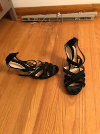 pair of black open-toe strappy heeled sandals Winnipeg, R2M 2C2