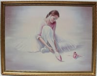 Large vintage oi painting on canvas, R.Young, ballerina, signed, framed Framingham