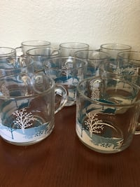 Clear-and-blue Christmas mugs