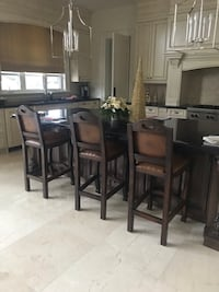 3 leather stools with nail heads and solid brown wood Vaughan, L4L 3A9