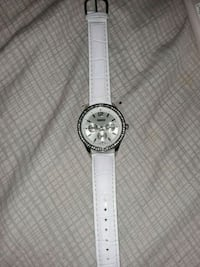 round silver chronograph watch with white leather  Newark, 07103