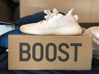 pair of white Adidas Yeezy Boost 350 on box Seattle, 98105