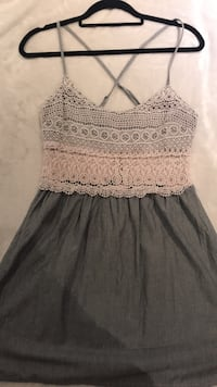 grey and peach eyelet spaghetti strap dress Mississauga, L4Y 2H1