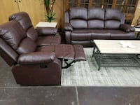 Brown leather reclining sofa and loveseat North Highlands