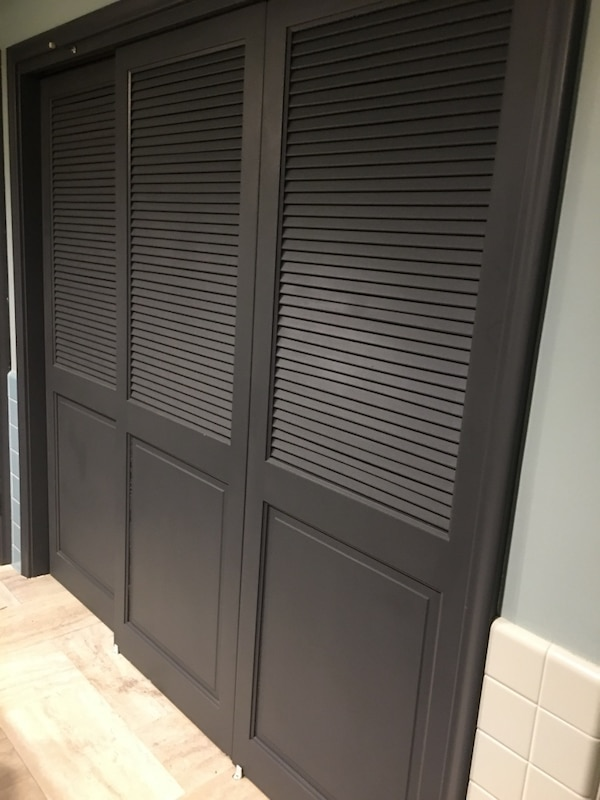 Three Louvered Sliding Doors Wood Paired Gray Measurements 76 5 X28